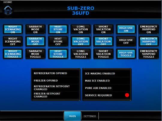Sub Zero Crestron Control Screen