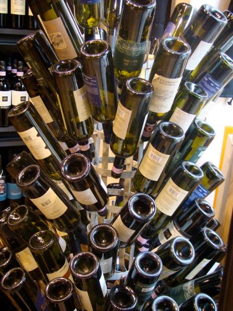 Wine bottle drying rack.