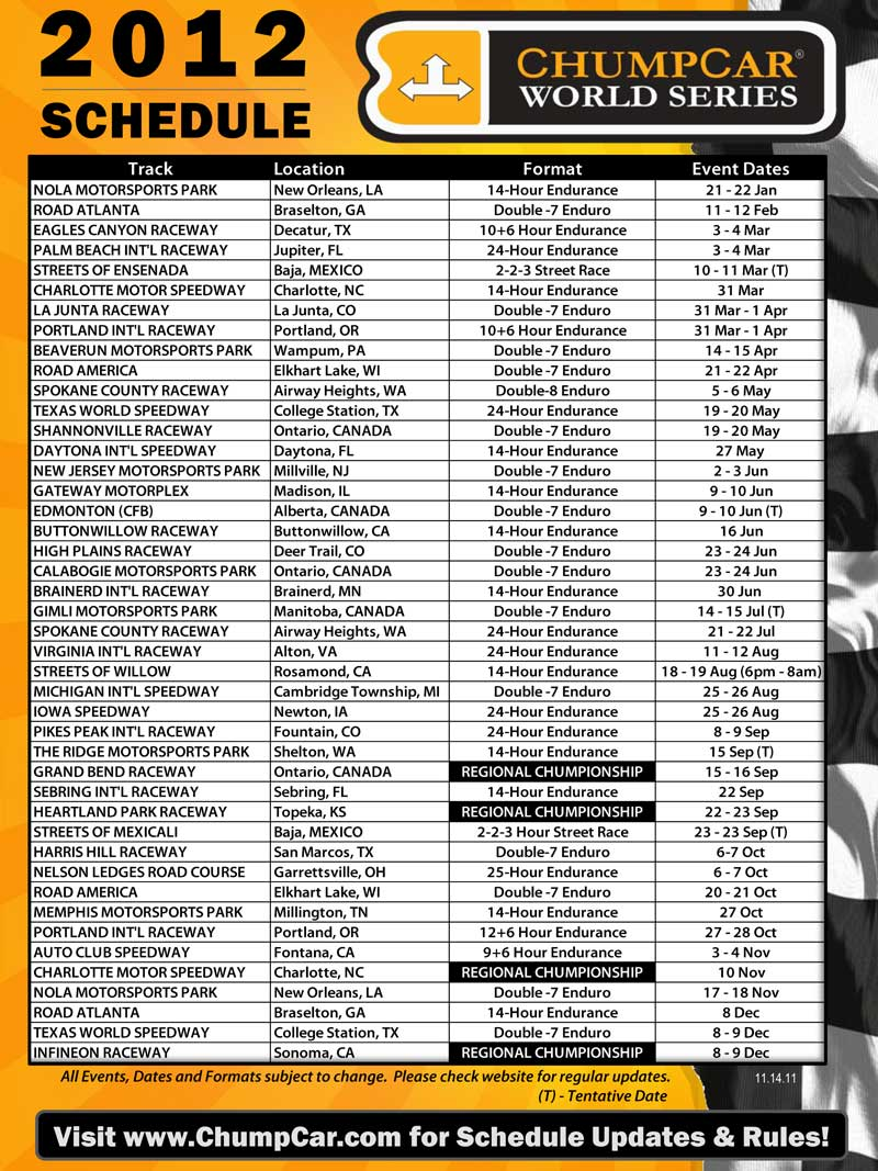 2012 ChumpCar Schedule As of Nov 14 2011