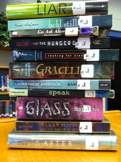 stack of YA books from Heidi Ayarbe's blog
