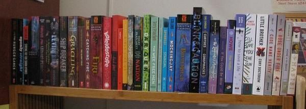 A colorful selection of past Big Blue YA Book Club books!