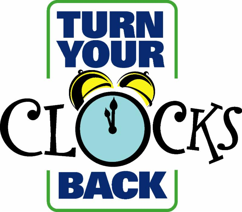 Be sure to turn your clocks BACK one hour on