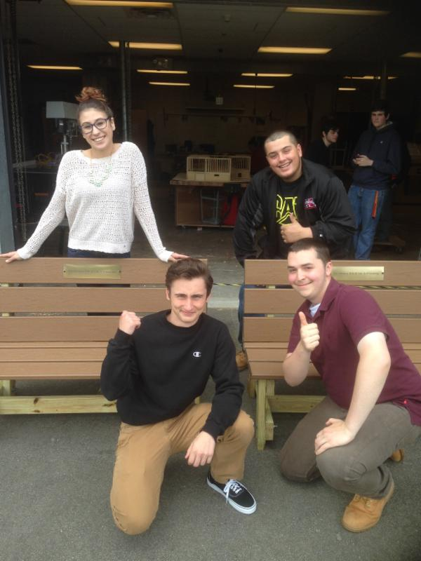 Taunton High School students Hannah_ Andrew_ Alek and Lee who built the benches