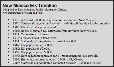 NM Elk Timeline