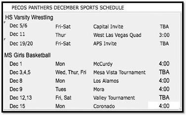 December Sports Schedule