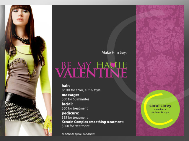 Image: Special Pricing on Salon Services for Valentine's Day.