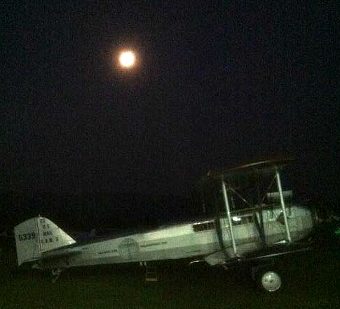 Boeing 40 in the moonlight