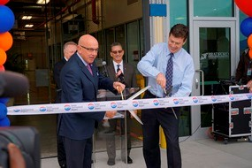 Airport CEO Joe Lopano was joined by Bradford Logistics CEO Benjamin Richter to cut the ribbon on the facility that will revolutionize the concessions operations at TPA.