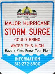 Hillsborough County storm surge level warning sign