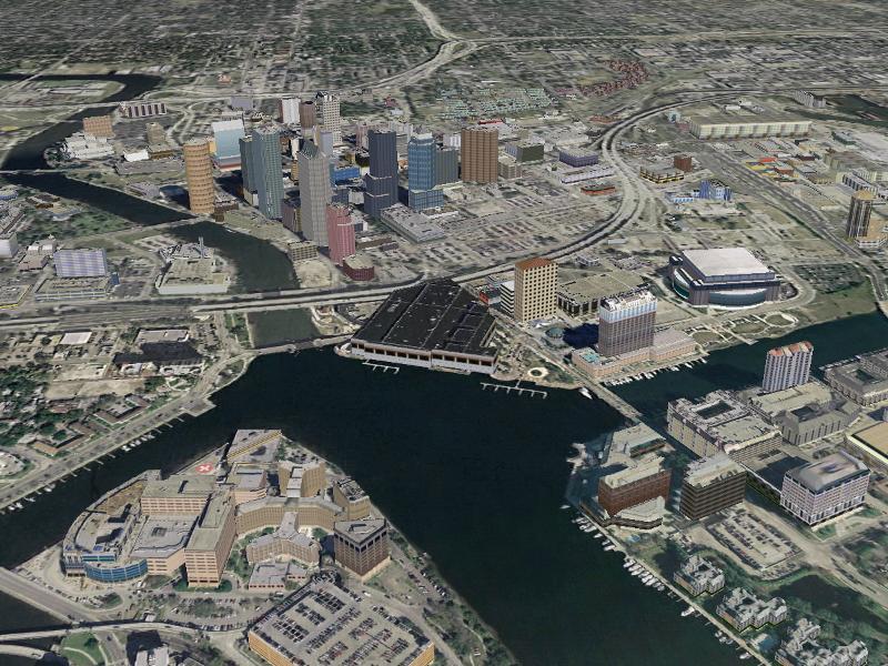 Aerial of Downtown Hillsborough River