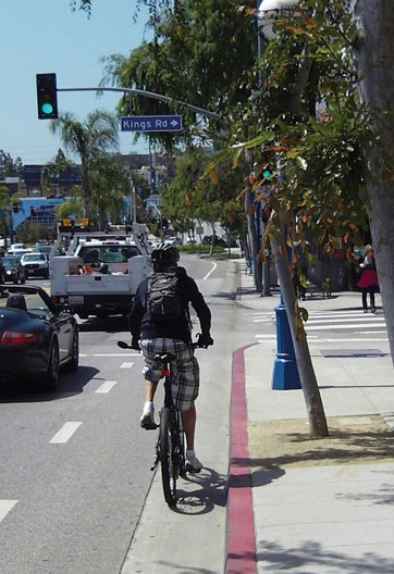 .  Bike lanes along Santa Monica Boulevard are heavily used by both commuters and recreational cyclists.