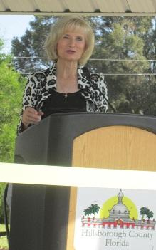 Commissioner Sandy Murman speaking at Shimberg Gardens dedication