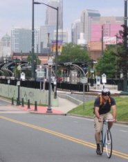 Downtown Charlotte w bicyclist in foreground