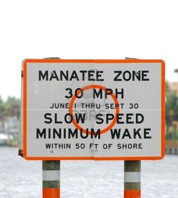 warning sign to protect manatees