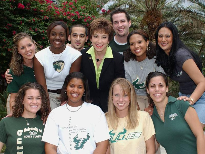 USF diverse students with President Judy Genshaft