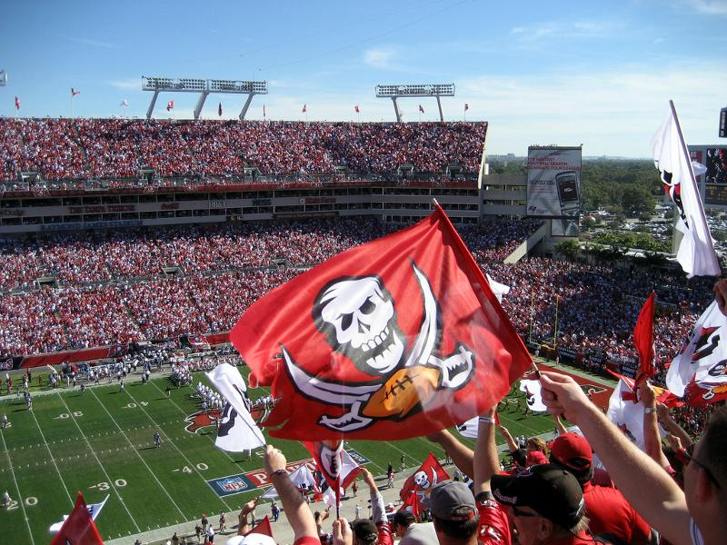 Bucs fans in the stands at Ray Jay