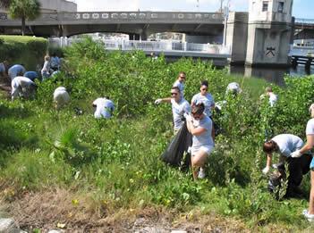 Volunteers clean trash form hillsborough River