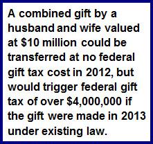 Gift Tax 2012 vs 2013