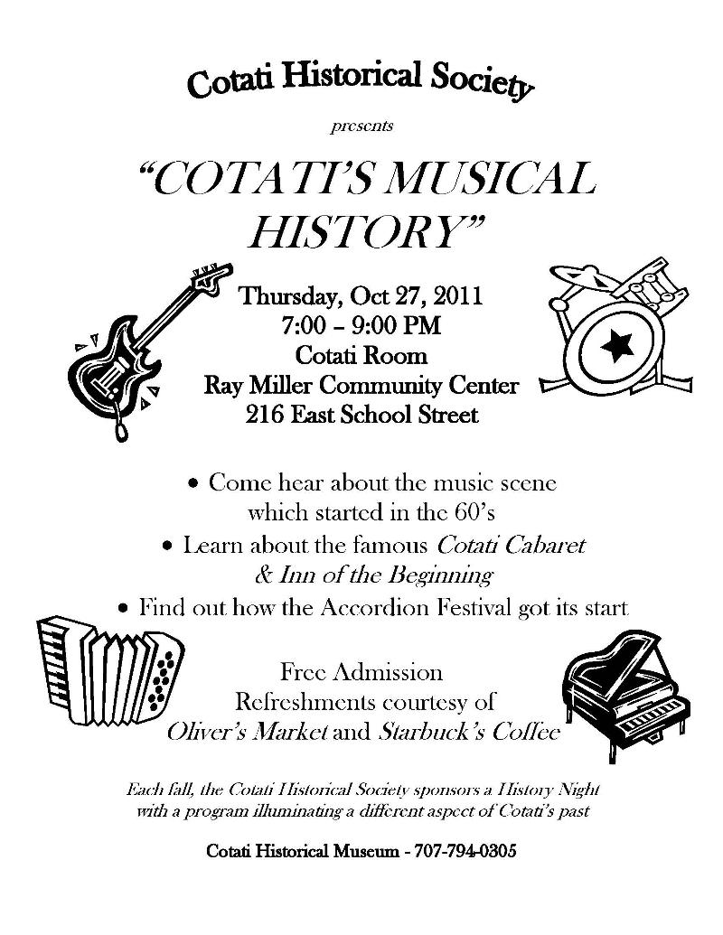 Cotati's Musical History Night