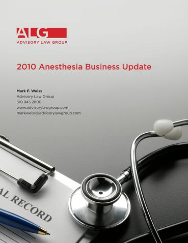 ALG's 2010 Anesthesia Business Update