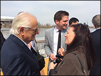 GSWA Executive Director Sally Rubin (right) chats with U.S. Congressman Bill Pascrell at a press conference announcing EPA Region 2's plan for cleaning up the Lower Passaic River. The event took place on April 11 along the Passaic River at Newark Riverfront Park. Credit: S. Reynolds/GSWA