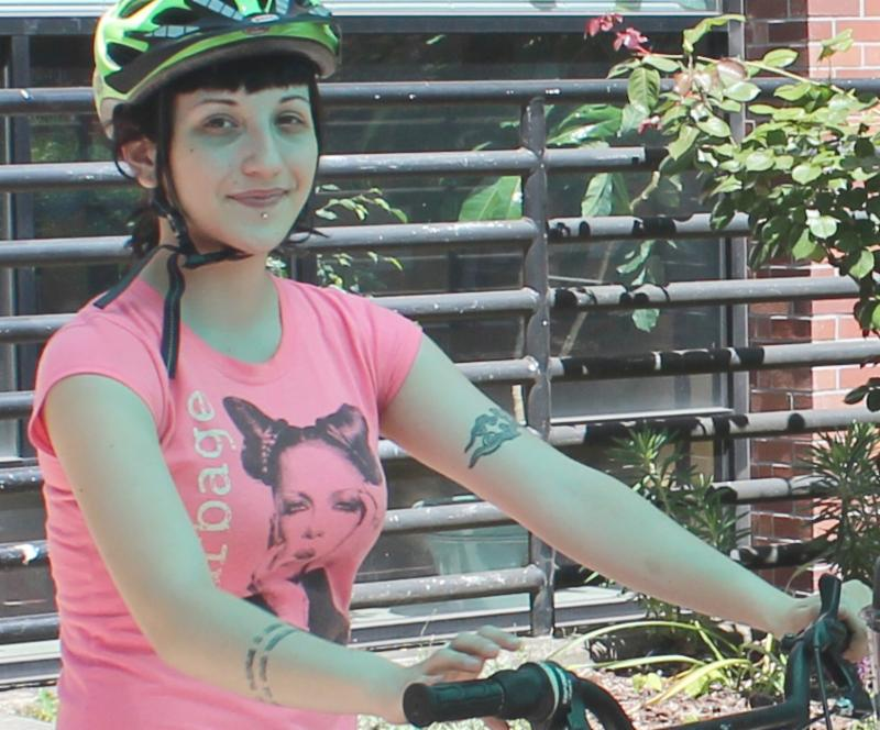 Bespoke employee Mara at her blender bike