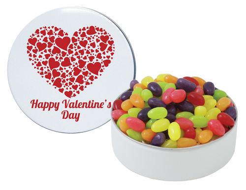 jelly beans in Valentine's tin
