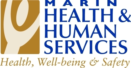 figurein white with gold background; words Marin County Health and Human services