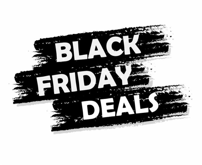 Black friday deal banner - text in black drawn label business seasonal shopping concept