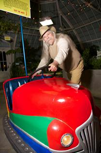 A guest enjoys our Dodger car at Aphrodesia After Hours
