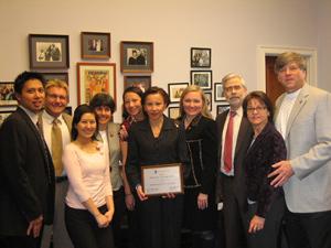 Carson Wong '09, Dr. David Dexter, Hannah Kim '11(UMSL), Lynn Trieu '09, Rep. Nydia Velazquez, Dr. Andrea Thau (AOA Trustee), Dr. David Heath, Dr. and Mrs. David Dozack