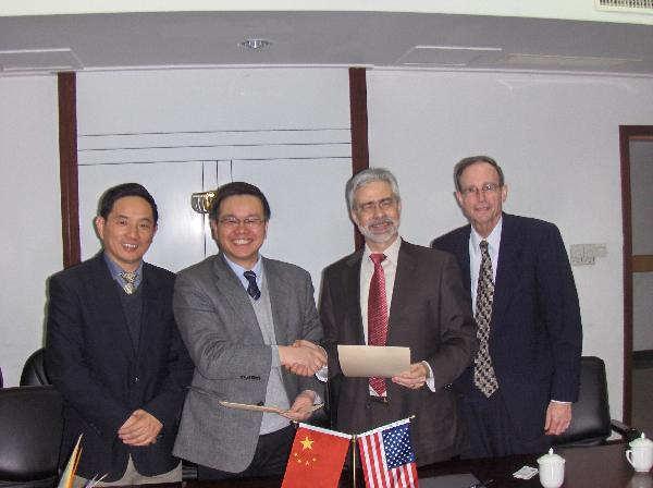 Signing Ceremony at the Zhejiang Univeirsty: L to R: Dr. Jianhong Lou, Executive Vice Dean, Zhejiang Univeristy School of Medicine, Dr.  Suzhan Zhang, President-2nd Affiliated Hospital,  Dr. David Heath - President SUNY Optometry, Dr. Michael Heiberger, Interim Vice-President for Academic Affairs SUNY Optometry