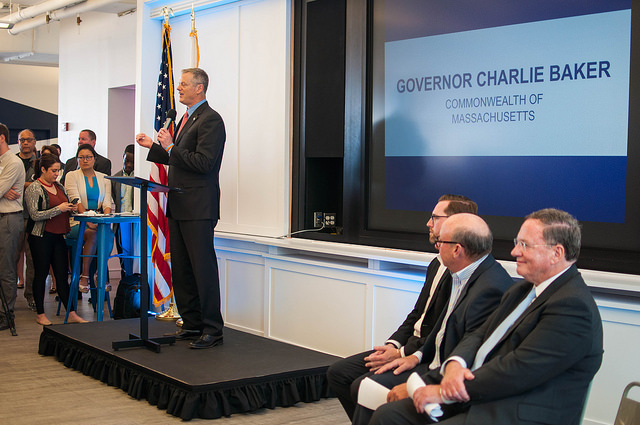 Governor Charlie Baker at the PULSE@MassChallenge launch event.