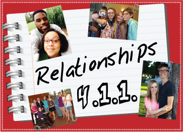 Relationships 411 logo with photos of couples and friends