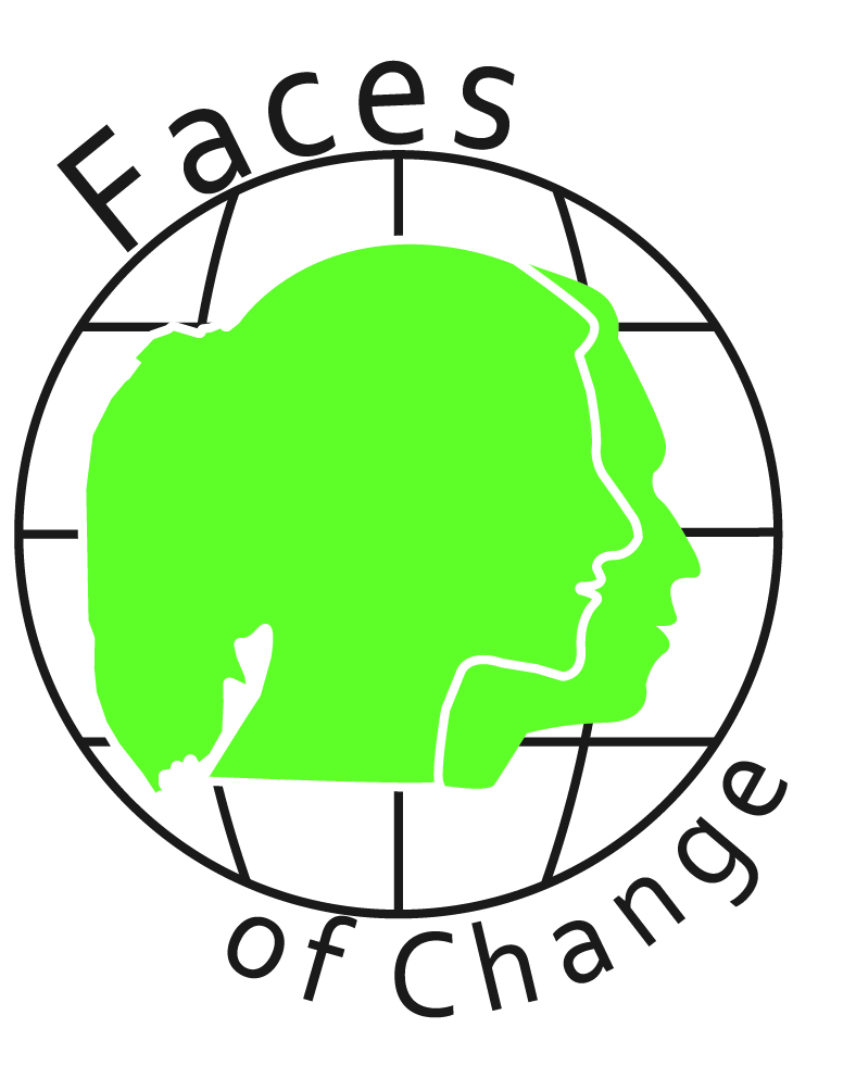 Faces of Change logo with male and female head outlines in a globe