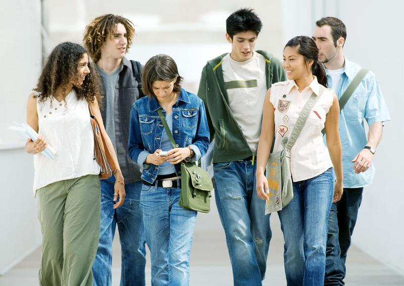 A diverse group of students walk down the hallway