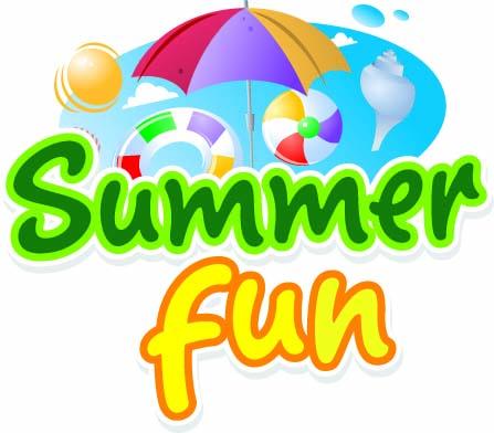 summer fun graphic with beach ball, sun, and umbrella