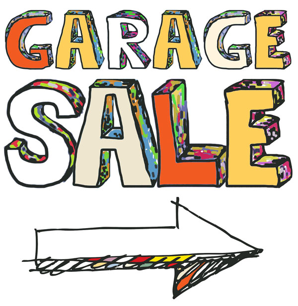 Garage sale with arrow pointing right