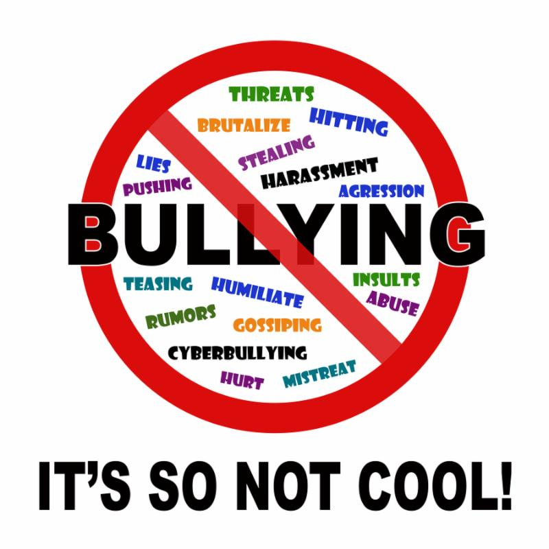 Bullying it s so not cool sign on white background