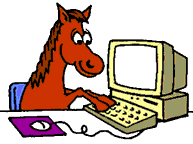 Horse on computer animated
