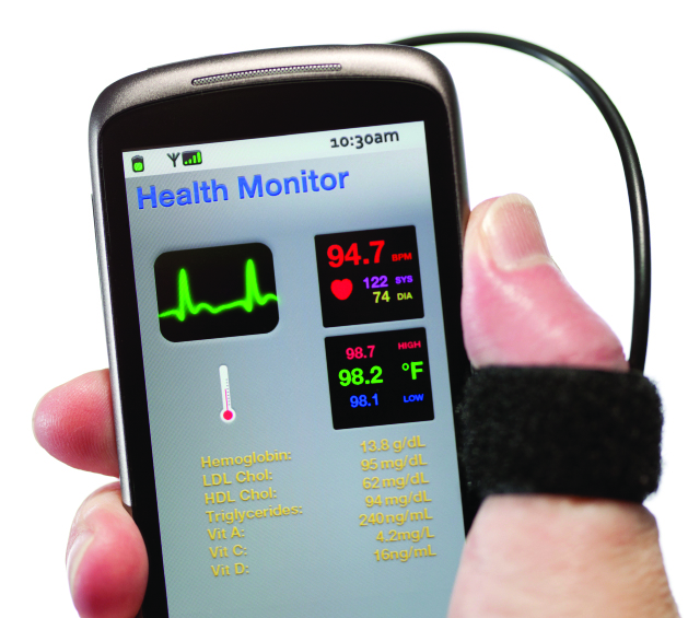 hand holding smart phone with health monitoring app