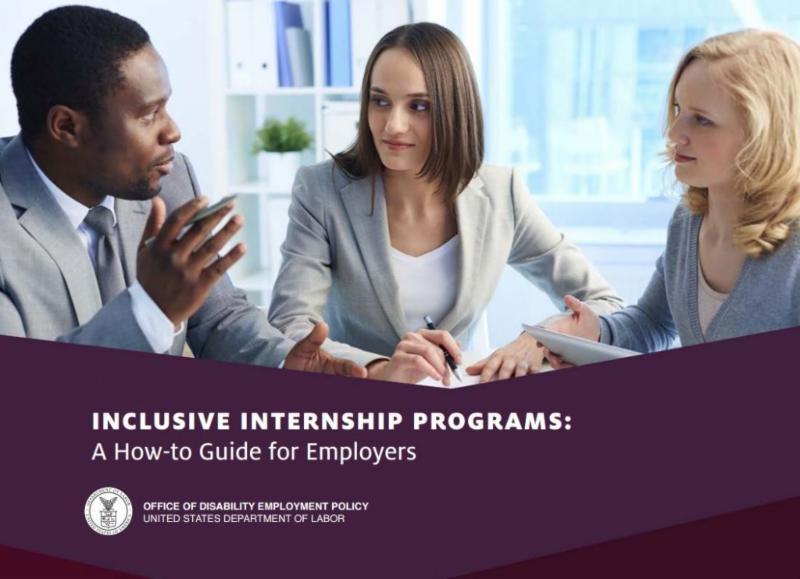 3 business people in conversation. Text: Inclusive Internship Programs: A How-to Guide for Employers