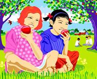 Girls Eating Apples