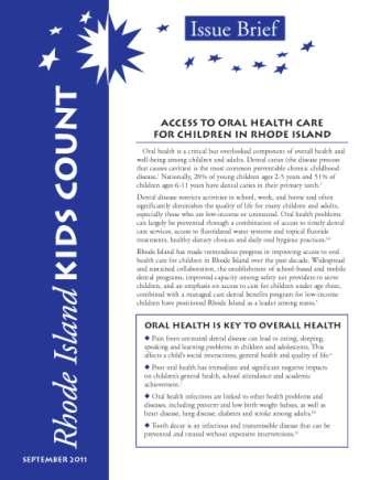 Access to Oral Health Care Issue Brief