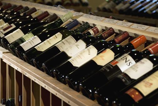 Wine bottles in store display