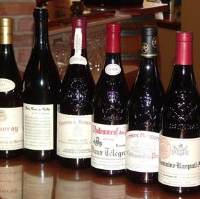 Wine bottles on counter