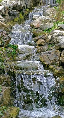 A waterfall  garden feature