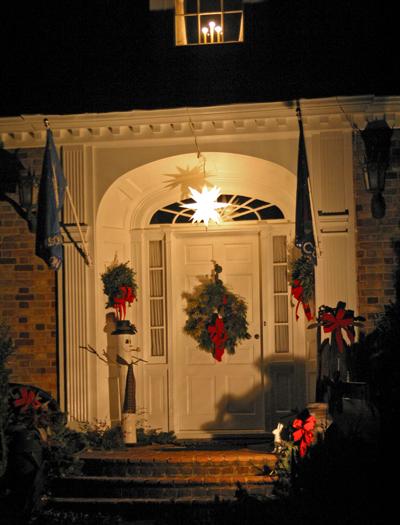 Christmas front porch at night