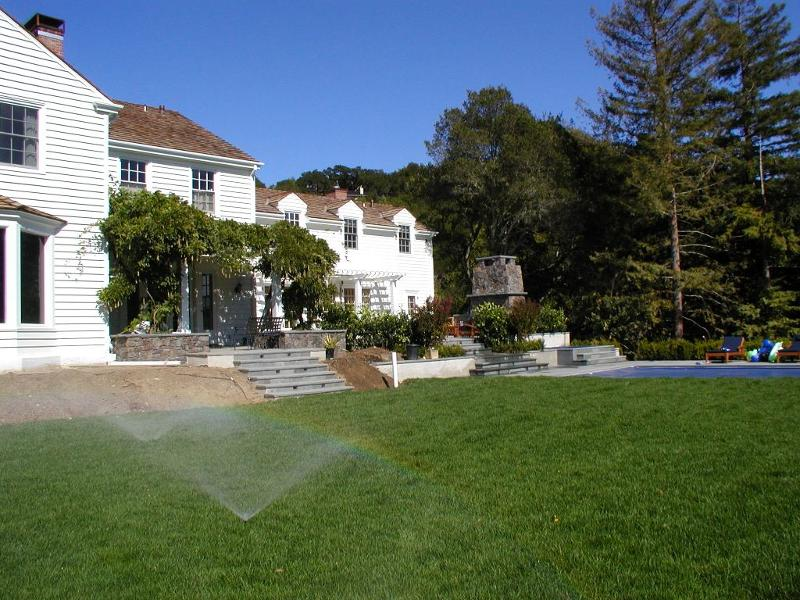 Lawn with irrigation