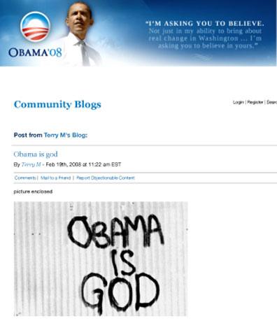 Obama is God